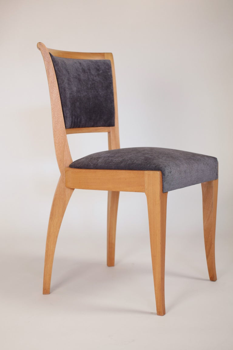 Set of 6 French Art Deco Dining Chairs in Solid Ash In Good Condition For Sale In Austin, TX