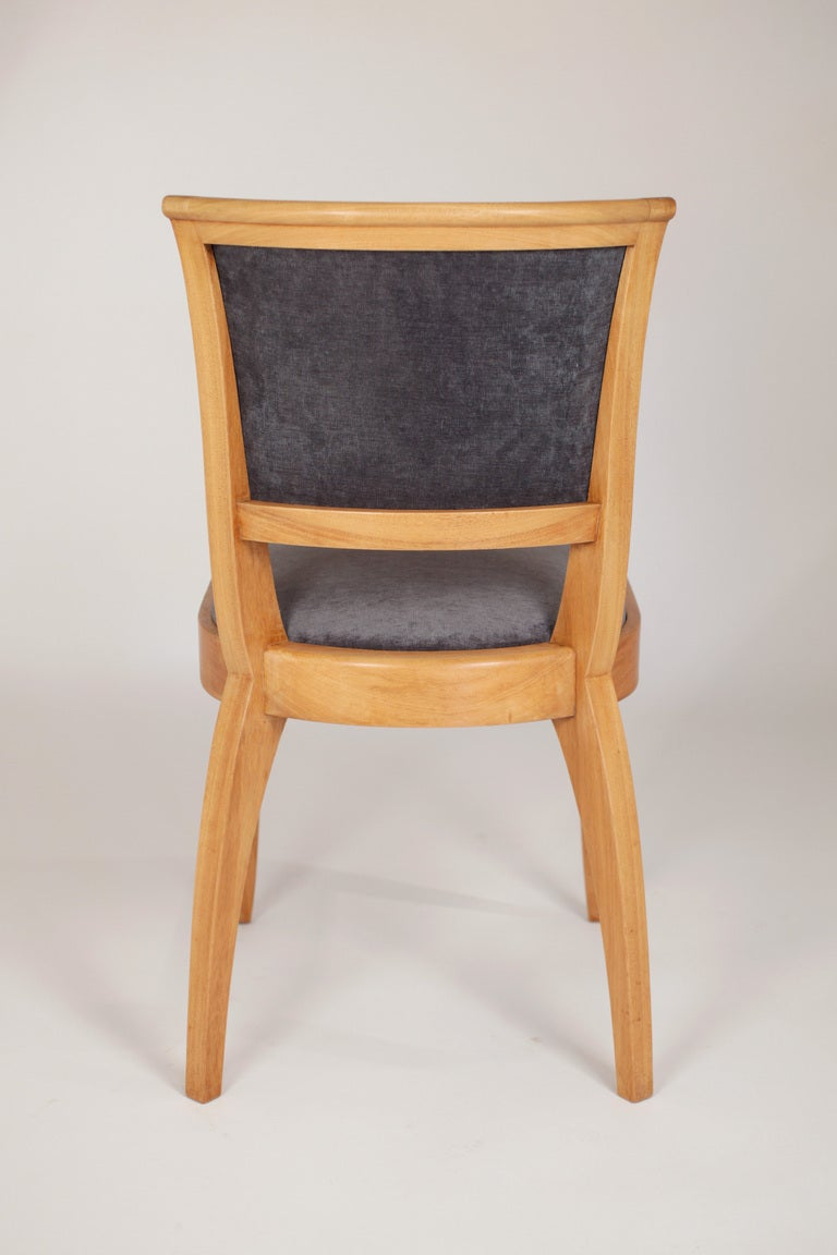 Mid-20th Century Set of 6 French Art Deco Dining Chairs in Solid Ash For Sale