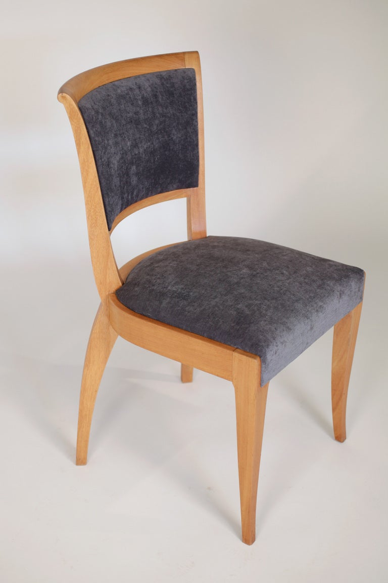 Set of 6 French Art Deco Dining Chairs in Solid Ash For Sale 2