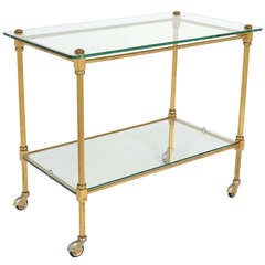 French Vintage Brass and Glass Bar Cart