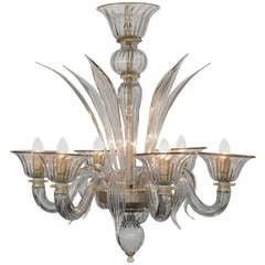 Murano Gray Avventurina Glass Chandelier