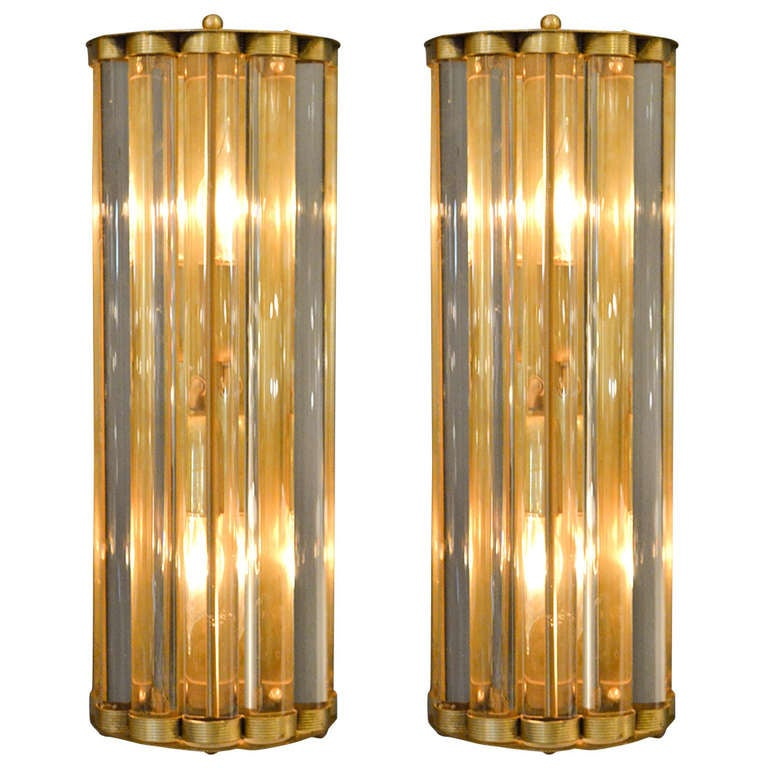 Murano Glass Tube and Brass Sconces