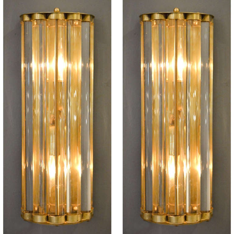 Glass Tube Wall Lights : Murano Glass Tube and Brass Sconces at 1stdibs