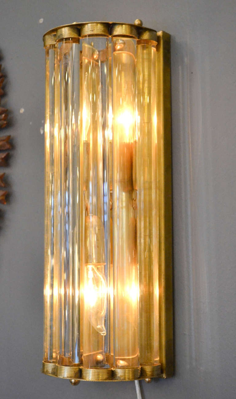 Glass Tube Wall Lights : Murano Glass Tube and Brass Sconces For Sale at 1stdibs
