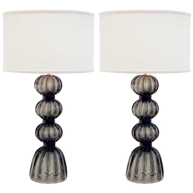 "Pair of Murano ""Fumato"" Gray Glass Table Lamps"