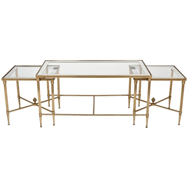 Maison charles french gilt brass nesting coffee table set for Glass top nesting tables