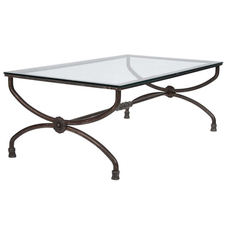 french vintage forged iron and glass coffee table at 1stdibs ForFrench Glass Coffee Table