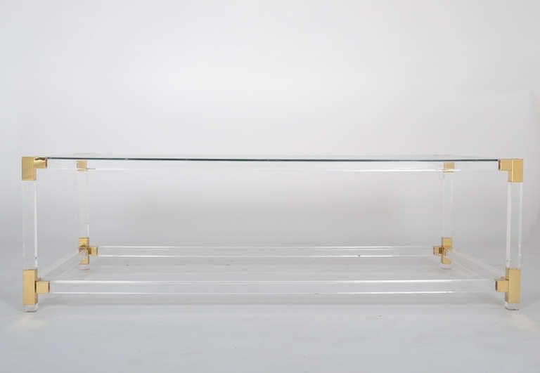 French Vintage Lucite & Brass Cocktail Table 3