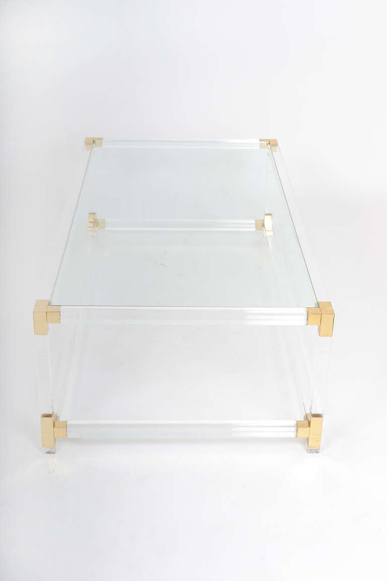 French Vintage Lucite & Brass Cocktail Table 6