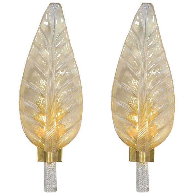 Murano Glass Leaf Sconces in the Style of Toso and Barovier