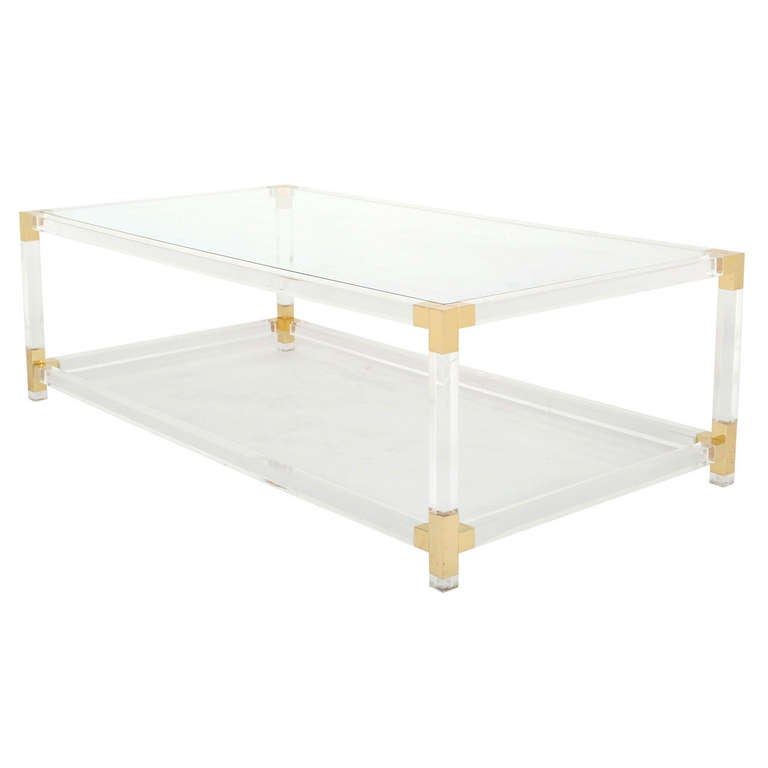 French Vintage Lucite & Brass Cocktail Table 1