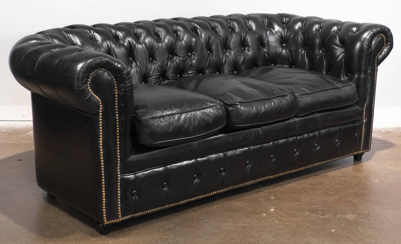English Vintage Black Leather Chesterfield Sofa For