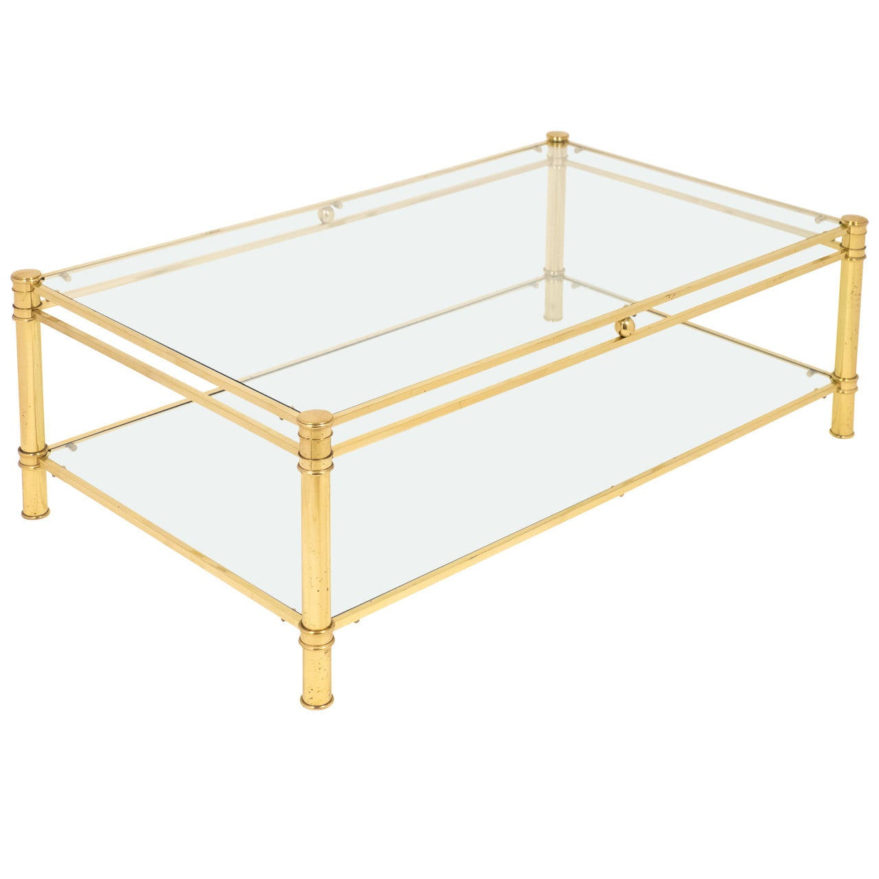 French Vintage Gilt Brass Coffee Table By Maison Raphael At 1stdibs