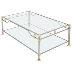French Vintage Steel and Gilt Brass Coffee Table