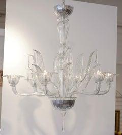 """Murano """"Cristallo Pura"""" Glass Chandelier by Salviati"""