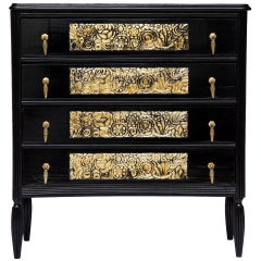 French 1930s Walnut Chest of Drawers Ebonized and Silver Leafed