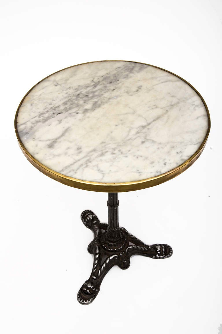 French Antique Marble And Iron Bistro Table At 1stdibs