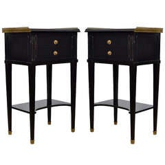 Pair of Ebonized Mahogany Side Tables by Maison Hirsch