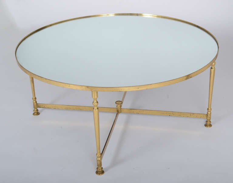 French Vintage Round Brass Coffee Table at 1stdibs