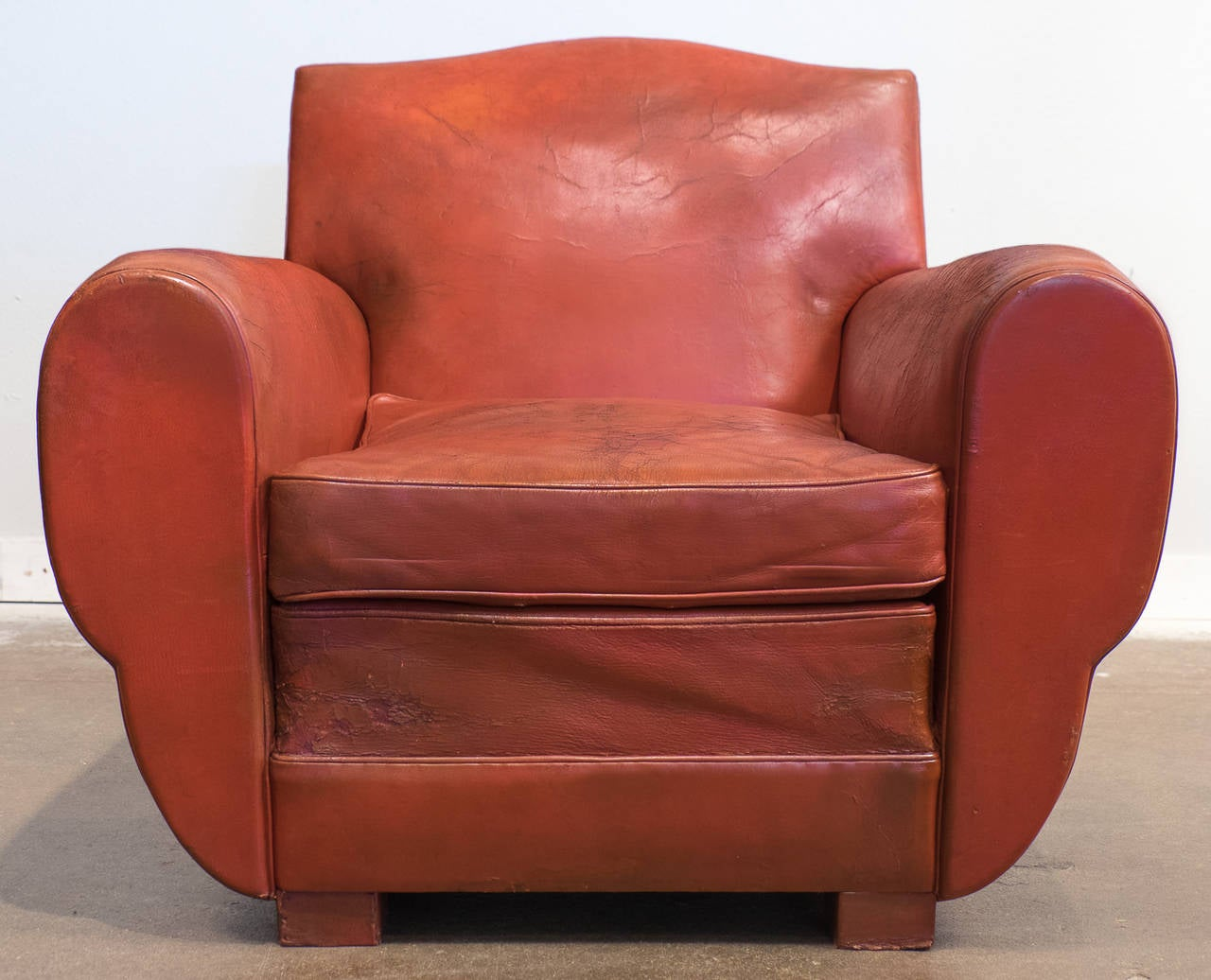 superb french vintage red leather club chair at 1stdibs