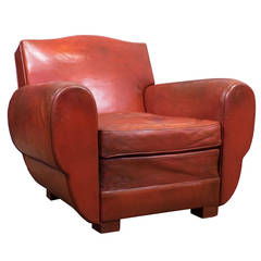 Superb French Vintage Red Leather Club Chair