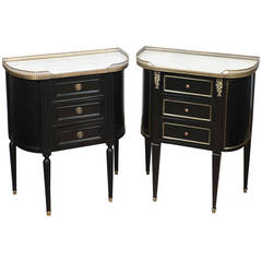 French Antique Louis XVI Faux Pair of Nightstands
