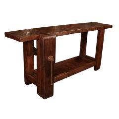 French Antique Solid Chestnut Carpenter's Workbench