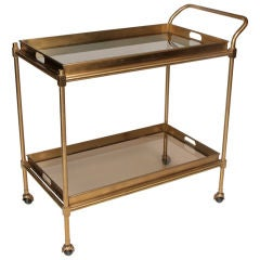 French Art Deco Period Brass Bar Cart