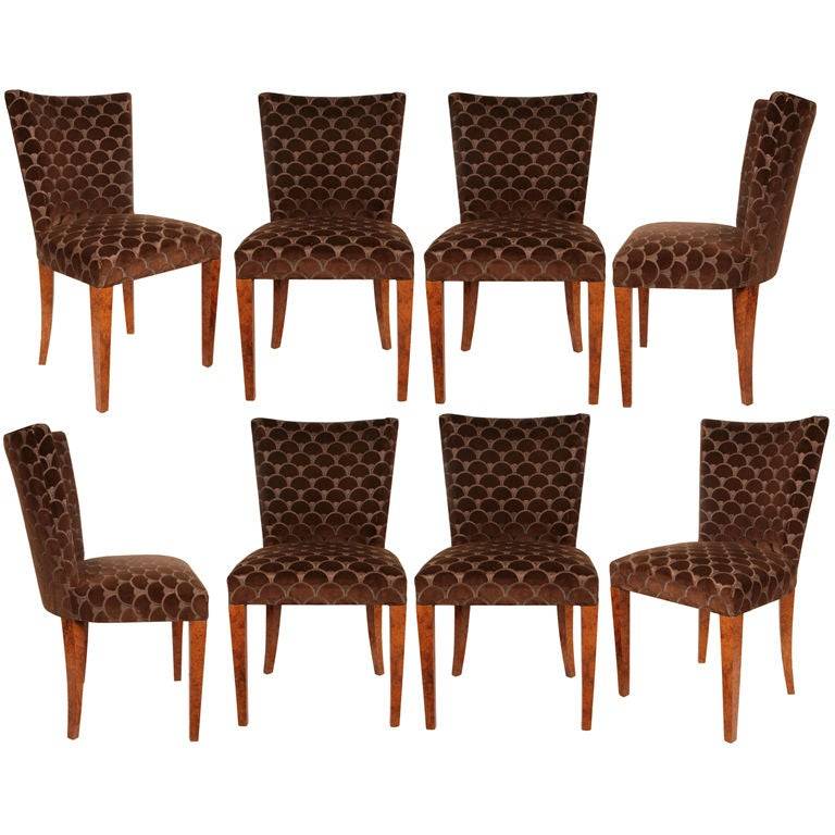 Set of Eight Biedermeier Dining Chairs in Maple at 1stdibs