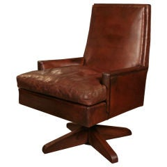 French Art Deco Leather and Oak Desk Chair
