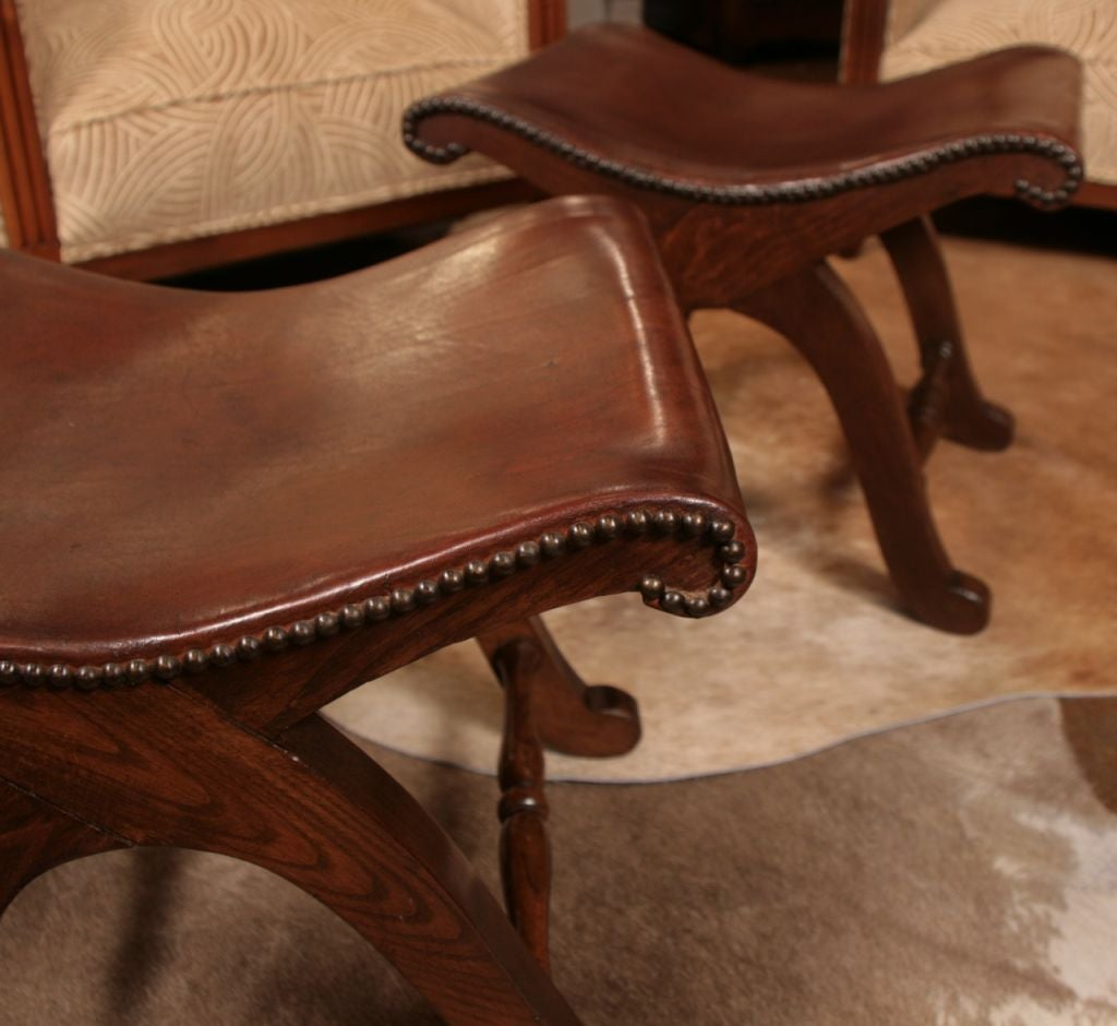 Pair of Spanish Solid Oak and Leather Stools at 1stdibs