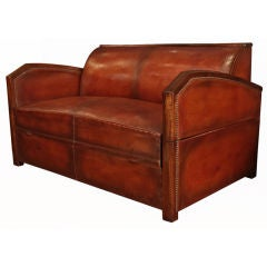 French Art Deco Period Leather Settee
