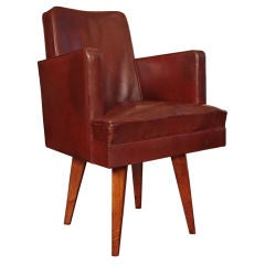 French Art Deco Jean Prouve Style Leather and Oak Desk Chair