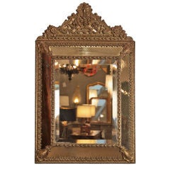 French Antique Napoleon III Embossed Brass Mirror