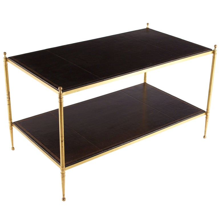Vintage Hermes Leather And Gilt Brass Coffee Table Att Jacques Adnet At 1stdibs
