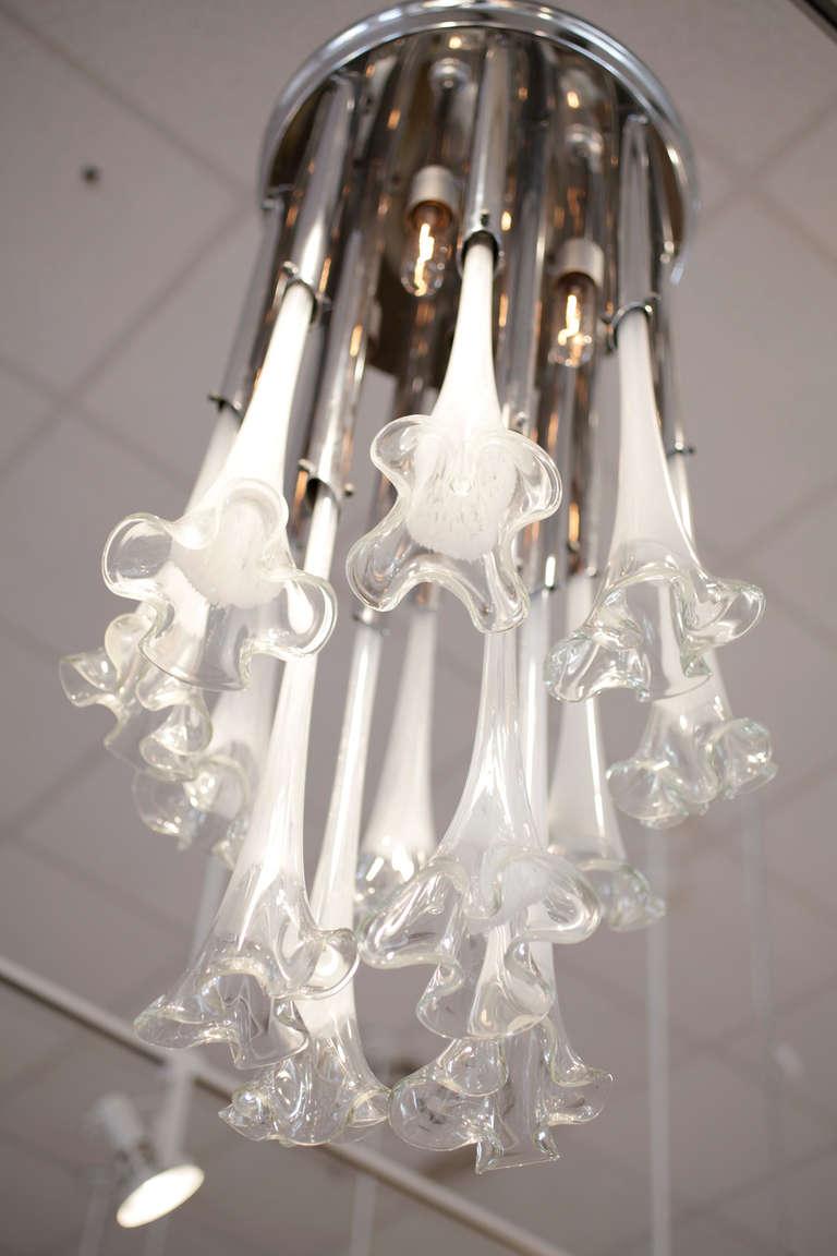 Italian Modern Murano Glass And Chrome Chandelier At 1stdibs