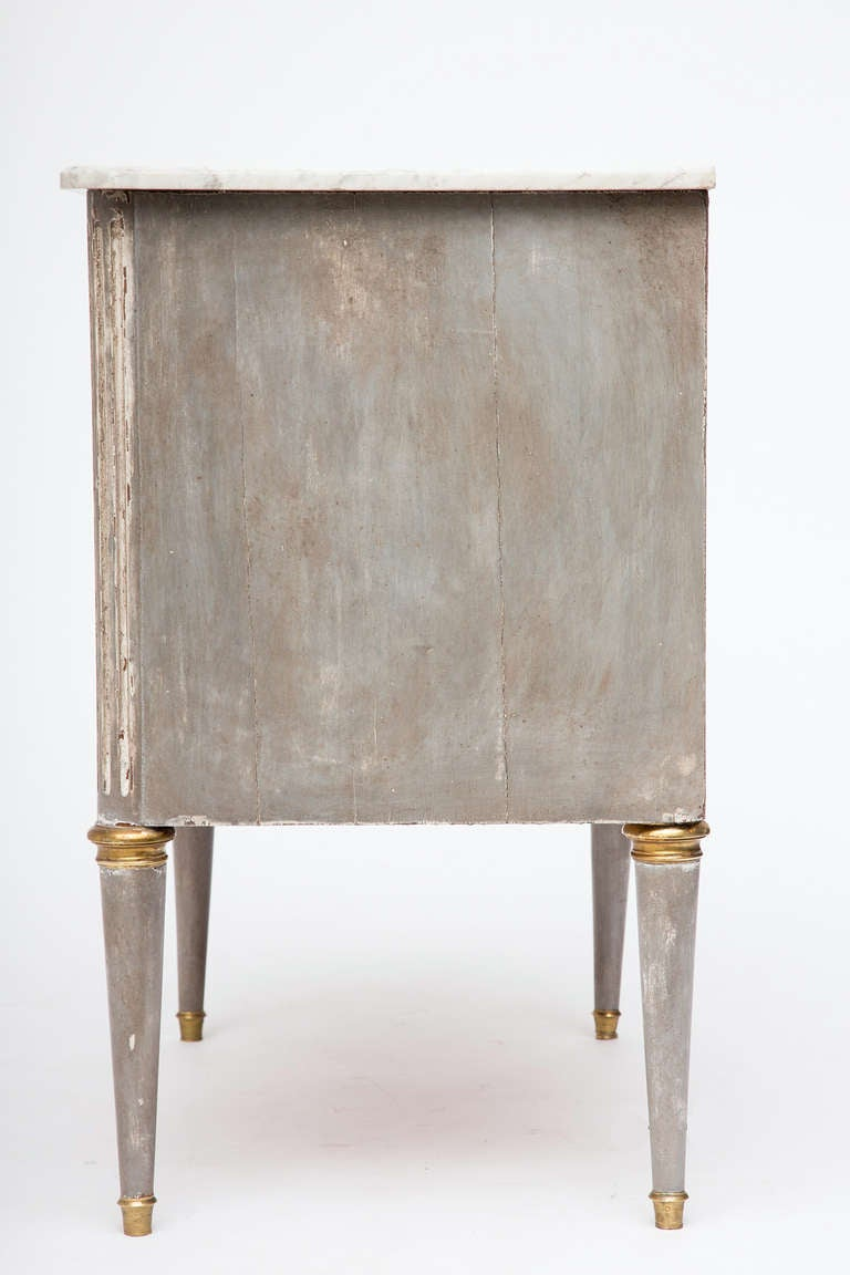 20th Century French Antique Louis XVI Carrara Marble Top Chest of Drawers For Sale