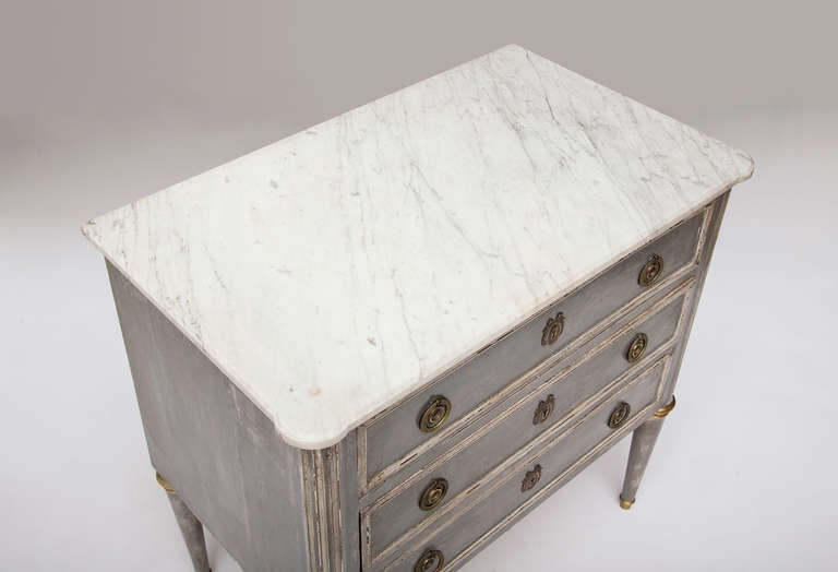 Mahogany French Antique Louis XVI Carrara Marble Top Chest of Drawers For Sale