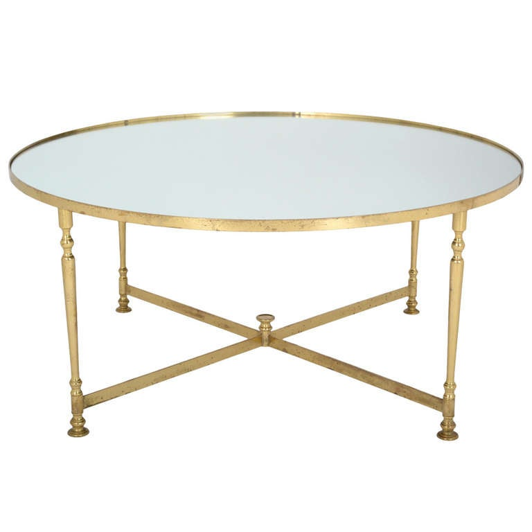 French vintage round brass coffee table at 1stdibs for Round glass coffee tables for sale