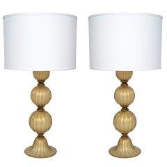 """Pair of """"Avventurina"""" Smoked Opaline Murano Glass Lamps"""