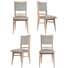 French Set of 4 Cerused Oak Chairs in the Manner of Jeanneret