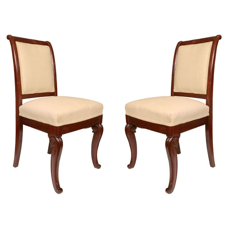 Pair Of French Restoration Period Solid Mahogany Chairs At 1stdibs