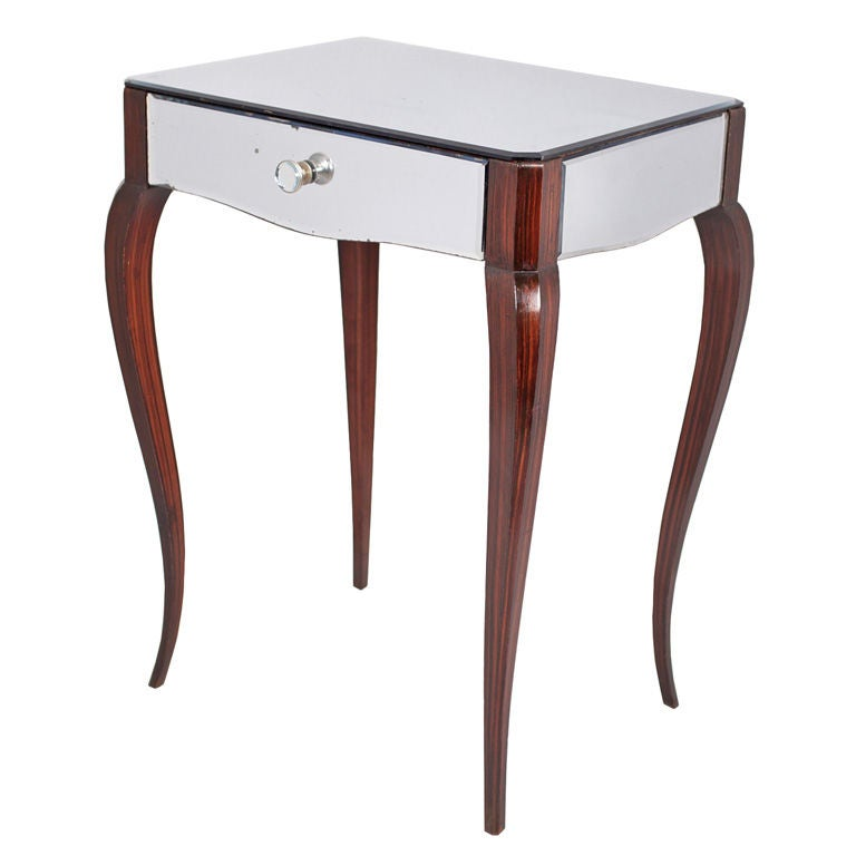 French art deco period mirrored macassar side table at 1stdibs for Art deco era dates