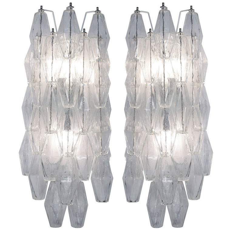 Smoky Pearl Furniture Painting Technique Captiva: Pair Of Polyhedral Murano Glass Sconces For Sale At 1stdibs