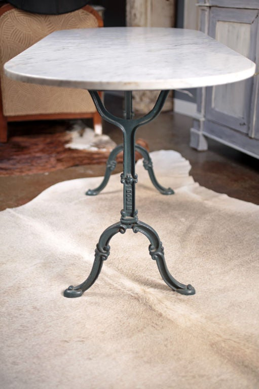 French Antique Marble And Cast Iron Bistro Table At 1stdibs