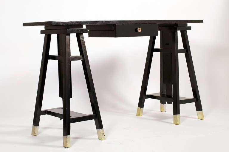 Architect ebonized desk with adjustable sawhorse legs at Sawhorse desk legs