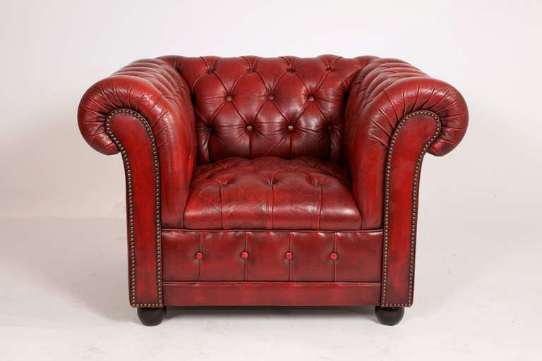 Vintage Pair Of Red Leather Chesterfield Club Chairs At