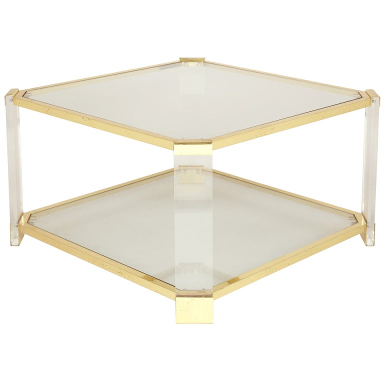 Mid Century Lucite And Brass Coffee Table At 1stdibs