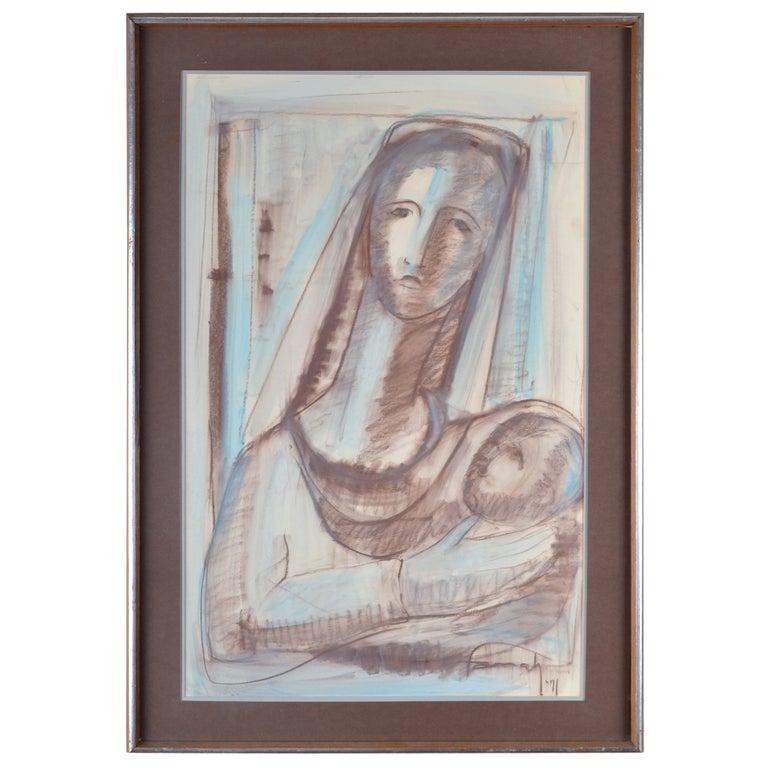 Farrah Fawcett Original Pastel Painting, Signed