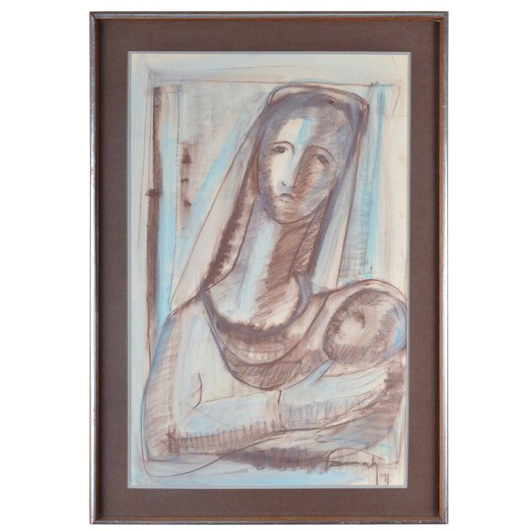 Farrah Fawcett Original Pastel Painting, Signed For Sale